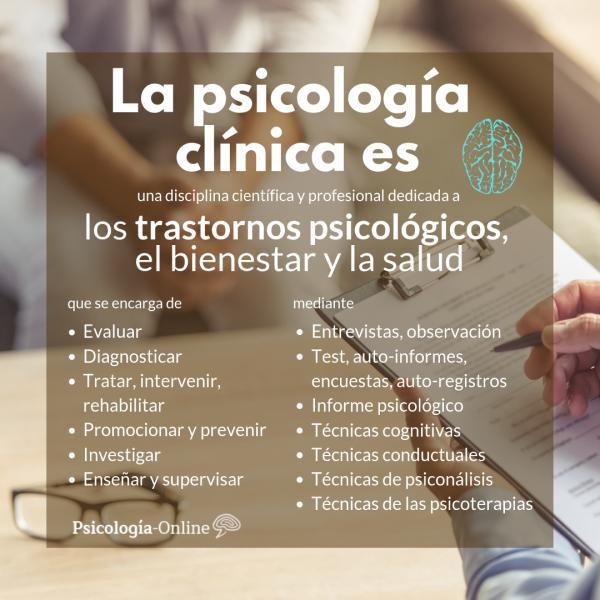 Qué es la psicología clínica: definición, historia, objetivo y ejemplos - Qué es la psicología clínica: resumen gráfico